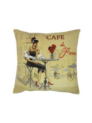 Подушка Кафе Париж Брюнетка T&I. Цвет: бежевый