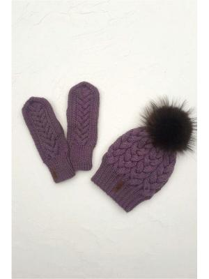 Комплект : шапка, варежки Sava. Цвет: сиреневый