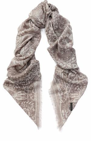 Кашемировый платок с принтом Franco Ferrari. Цвет: бежевый