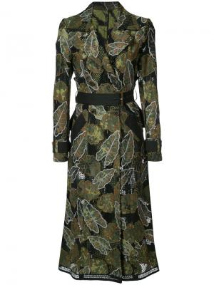 Leaf embroidered trench coat Yigal Azrouel. Цвет: зелёный