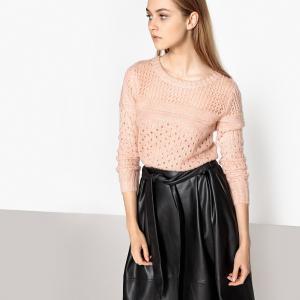 Пуловер из плотного трикотажа с круглым вырезом SUNCOO. Цвет: розовая пудра