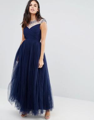 Little Mistress Платье макси с отделкой бисером. Цвет: темно-синий
