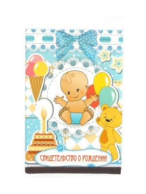 Обложка для свидетельства о рождении Lola. Цвет: голубой, желтый, красный