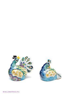 Набор соль-перец Павлин Blue Sky. Цвет: зеленый, бирюзовый, фиолетовый, бежевый, синий
