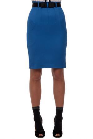Юбка Gloss. Цвет: сине-голубой, черный