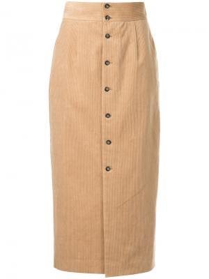 Вельветовая юбка с высокой талией Cityshop. Цвет: коричневый
