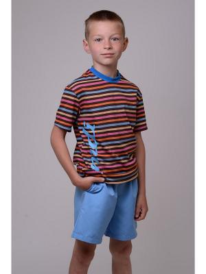 Футболка EMDI. Цвет: коричневый, голубой, оранжевый