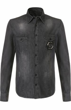 Джинсовая рубашка с потертостями и декоративной отделкой на спине Philipp Plein. Цвет: серый