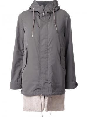 Пальто с капюшоном и потайной затсежкой Guild Prime. Цвет: зелёный