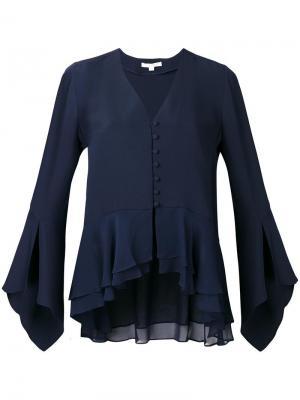 Блузка с V-образным вырезом Jonathan Simkhai. Цвет: синий