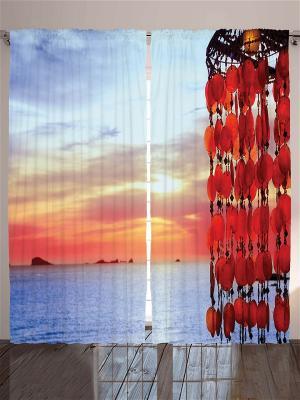 Комплект фотоштор Морской закат, 290*265 см Magic Lady. Цвет: бежевый, красный, оранжевый, белый, черный, серый, голубой