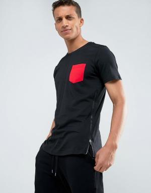 Loyalty & Faith Длинная футболка с карманом и молнией and. Цвет: черный