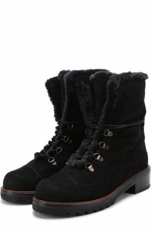 Замшевые ботинки Luge на шнуровке Stuart Weitzman. Цвет: черный