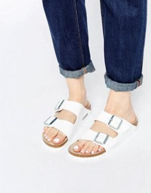 Birkenstock Белые сандалии Arizona Birko Flor. Цвет: белый