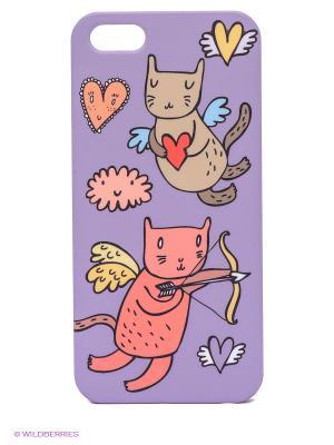 Чехол для IPhone 5 Коты-амуры на сиреневом Mitya Veselkov. Цвет: сиреневый