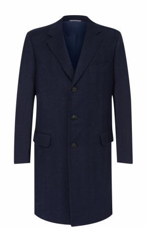 Шерстяное однобортное пальто Canali. Цвет: темно-синий