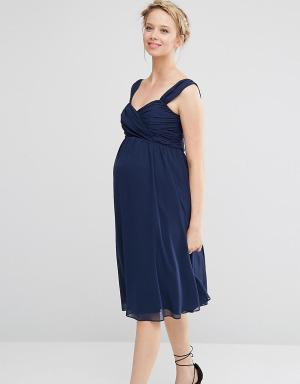 ASOS Maternity Шифоновое платье миди для беременных WEDDING. Цвет: синий