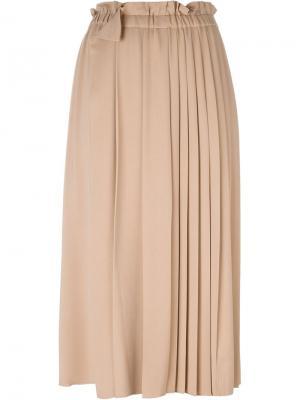 Удлиненная плиссированная юбка Nº21. Цвет: телесный