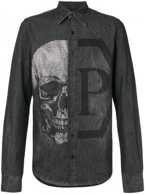 Джинсовая рубашка Andrea Philipp Plein. Цвет: чёрный