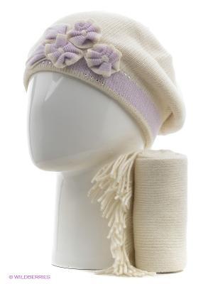 Шапка, шарф Vittorio Richi. Цвет: белый, сиреневый