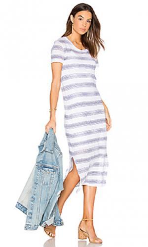 Миди платье-футболка из льна и джерси Stateside. Цвет: белый