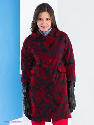 Пальто Say. Цвет: красный, черный
