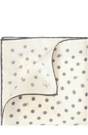 Шелковый платок с принтом Canali. Цвет: белый