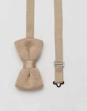 7X Вязаный галстук-бабочка. Цвет: бежевый