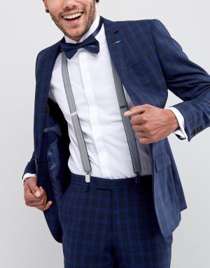 ASOS Темно-синие подтяжки и галстук-бабочка. Цвет: темно-синий