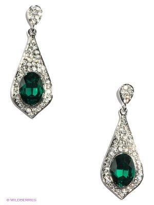 Серьги Lovely Jewelry. Цвет: зеленый, серебристый