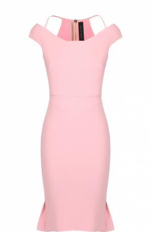 Платье-футляр с открытыми плечами Roland Mouret. Цвет: розовый