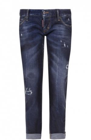 Укороченные джинсы с потертостями и отворотами Dsquared2. Цвет: синий