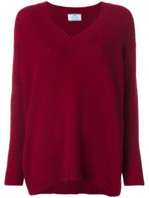 Джемпер с замшевыми нашивками на локтях и V-образным вырезом Prada. Цвет: красный
