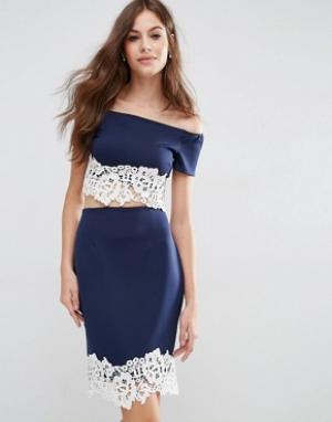 Jessica Wright Укороченный топ со спущенными плечами и кружевом по краю Wrigh. Цвет: темно-синий