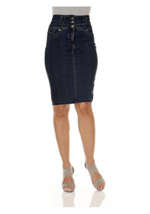 Моделирующая джинсовая юбка ASHLEY BROOKE by Heine. Цвет: белый, синий деним, темный деним