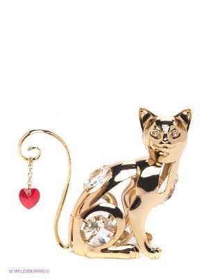 Фигурка Кошка с сердцем Юнион. Цвет: золотистый, красный