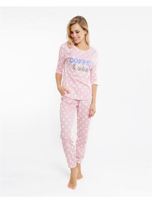 Комплект одежды: лонгслив; брюки Mark Formelle. Цвет: розовый, белый