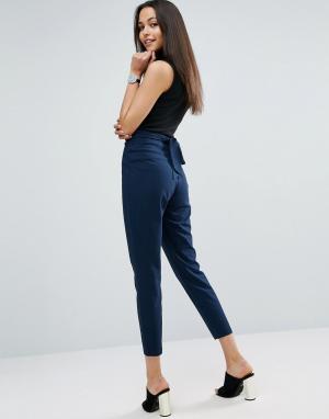 ASOS Трикотажные брюки-галифе с завышенной талией. Цвет: темно-синий