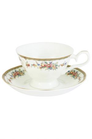 Чашка с блюдцем Изабелла EMERALD. Цвет: мультицвет