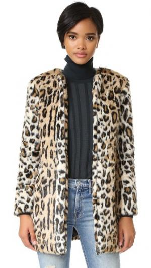 Пальто Elvina из искусственного меха с леопардовым принтом cupcakes and cashmere. Цвет: коричневый