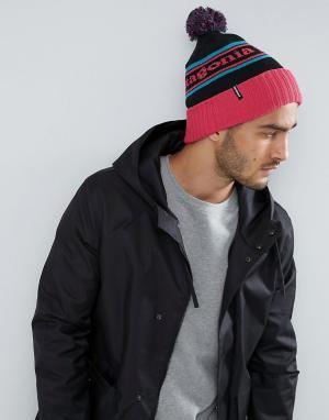 Patagonia Розовая шапка-бини с помпоном Powder Town. Цвет: розовый
