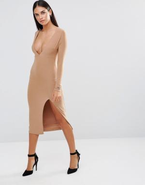 Rare Облегающее платье с длинными рукавами, глубоким декольте и разрезом Ra. Цвет: бежевый