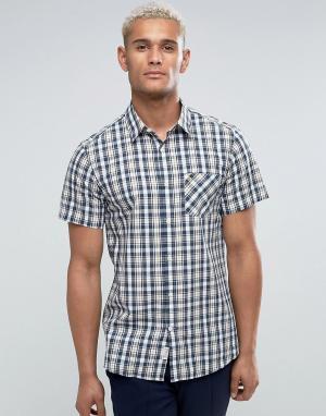 Jack Wills Темно-синяя клетчатая рубашка классического кроя с короткими рукавами. Цвет: темно-синий
