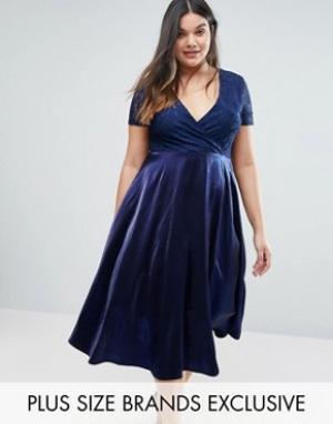 Truly You кружевное платье миди с пышной юбкой. Цвет: темно-синий