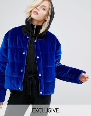 Puffa Бархатная дутая оversize-куртка без воротника. Цвет: синий