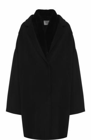 Пальто из смеси шерсти и кашемира с жилетом меховой отделкой Yves Salomon. Цвет: черный