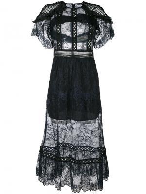 Прозрачное кружевное платье Self-Portrait. Цвет: синий