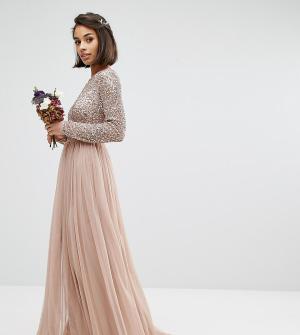 Maya Petite Платье макси с длинными рукавами и юбкой из тюля. Цвет: коричневый