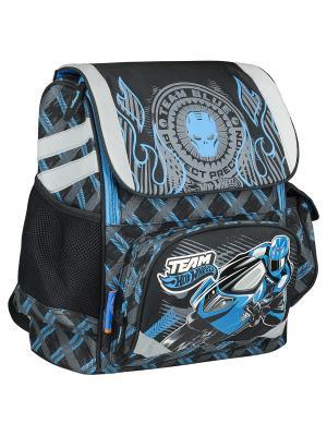 Рюкзак ортопедический, жесткая ортопедическая спинка Hot Wheels. Цвет: голубой,светло-серый,темно-серый