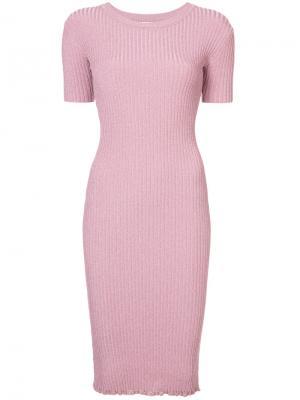 Платье миди в рубчик Milly. Цвет: розовый и фиолетовый